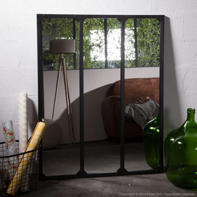 miroir verri re factory window mirror elephant in the room. Black Bedroom Furniture Sets. Home Design Ideas